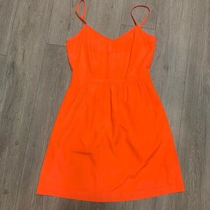 J Crew Neon Orange Dress With Pockets
